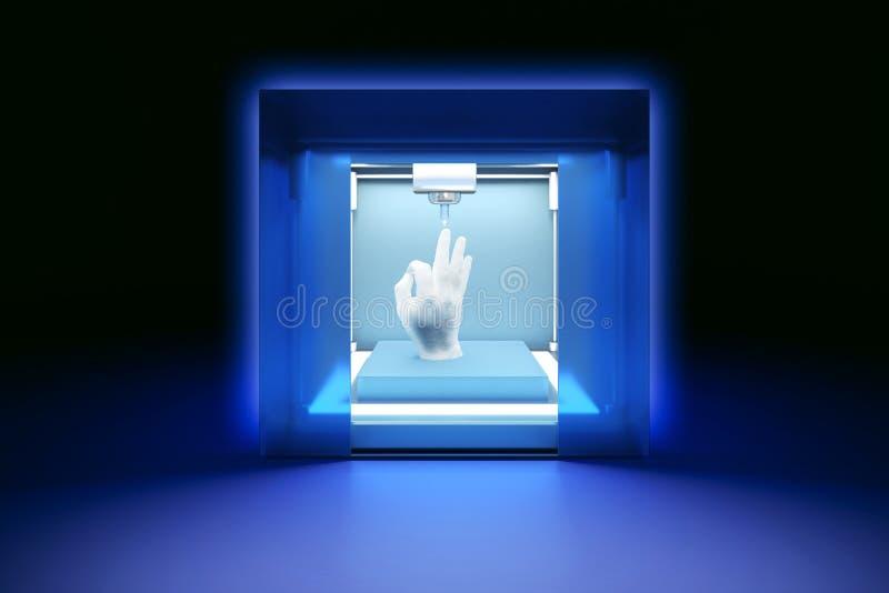 Elektronisk tredimensionell plast- skrivare, 3D skrivare, printing 3D stock illustrationer