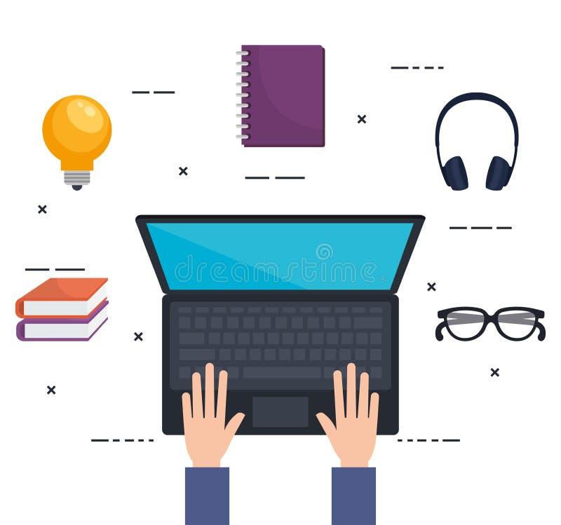 Elektronisk utbildning med bärbara datorn royaltyfri illustrationer