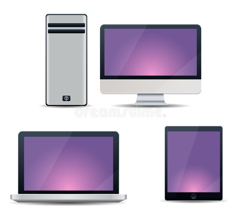 Elektroniska apparater med purpurfärgade skärmar - skrivbords- dator, bärbar dator, minnestavla vektor illustrationer