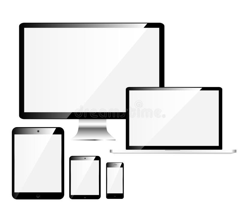 Elektroniska apparater med vita skärmar stock illustrationer