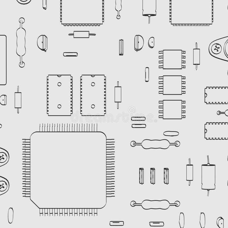 elektroniska delar royaltyfri illustrationer