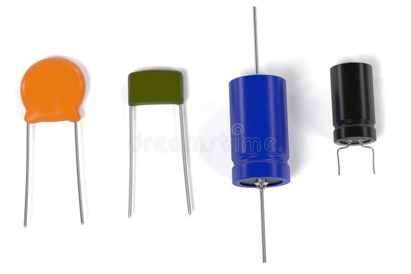 Elektroniska delar för kondensator stock illustrationer