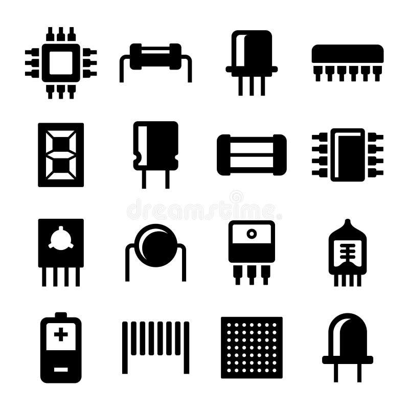 Elektroniska delar och mikrochipssymbolsuppsättning vektor stock illustrationer