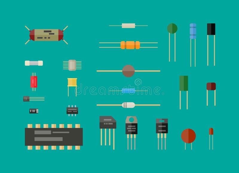 Elektroniska delar, strömkretsuppsättning stock illustrationer