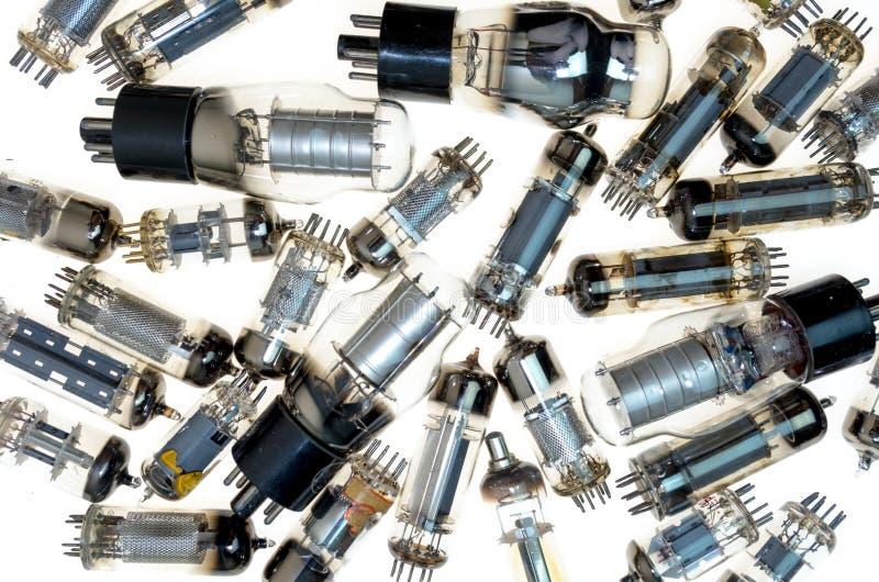 Elektroniska rör för vakuum på vit bakgrund arkivbild