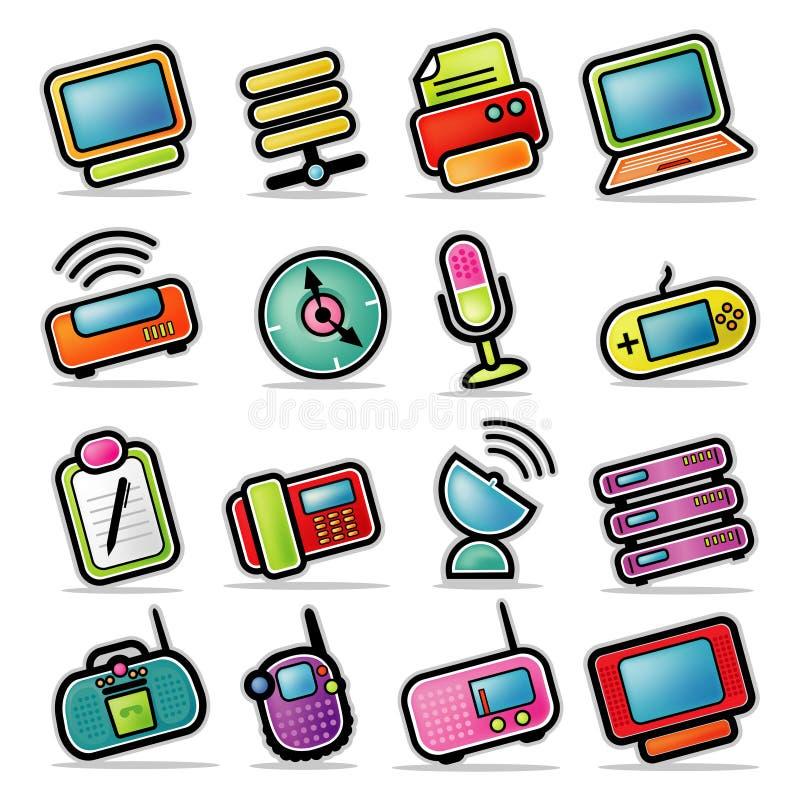 elektroniska symboler för färgrik apparat royaltyfri illustrationer