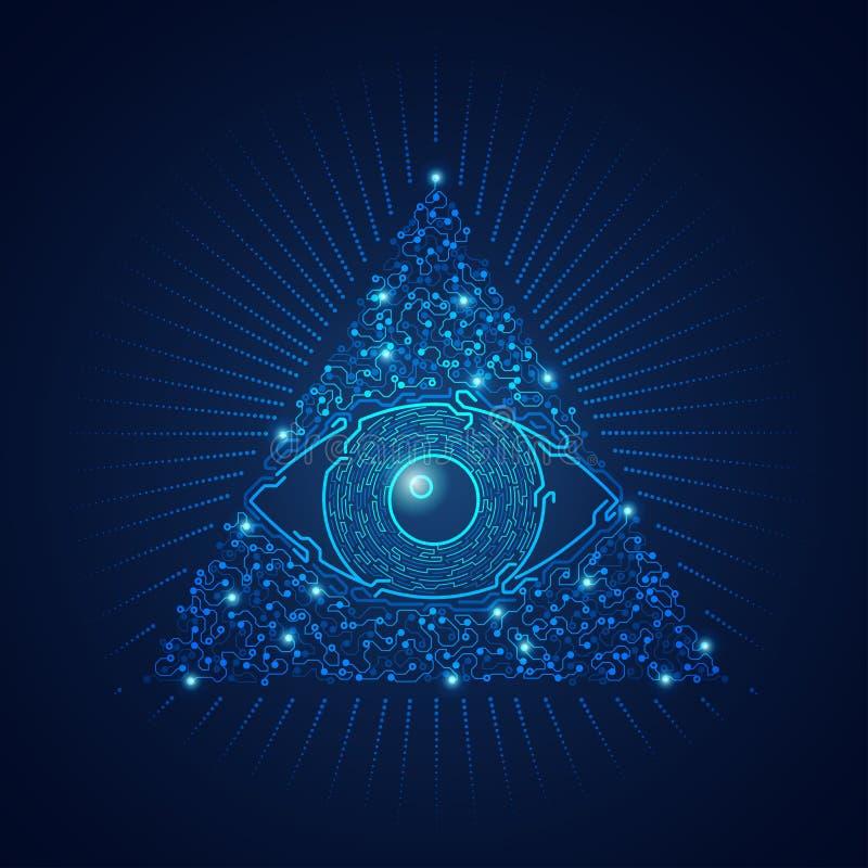Elektroniskt öga för triangel vektor illustrationer