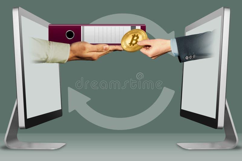 Elektroniskt begrepp, två händer från skärmar mapp och hand med bitcoin illustration 3d stock illustrationer