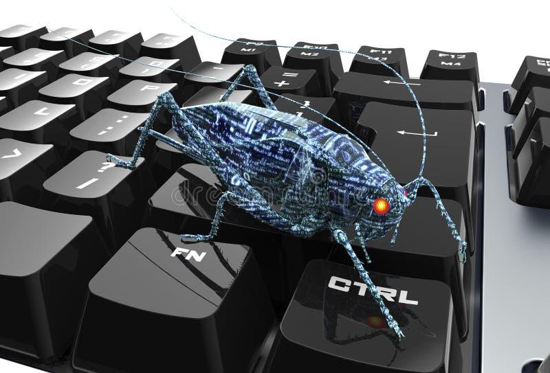Elektroniskt fel för Digital säkerhetsbegrepp på datortangentbordet stock illustrationer