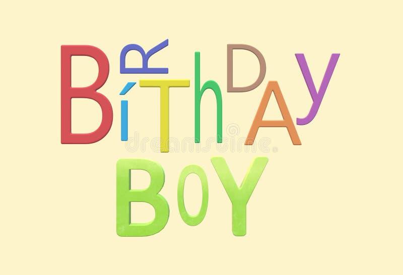 Elektroniskt hälsningkort för lycklig födelsedag för en pojke eller en manlig genus vektor illustrationer