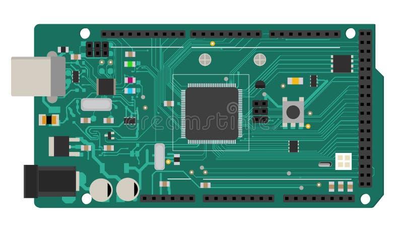 Elektroniskt mega bräde för DIY med en mikroprocessor, manöverenheter, ljusdiod, kontaktdon och andra elektroniska delar, att bil royaltyfri illustrationer