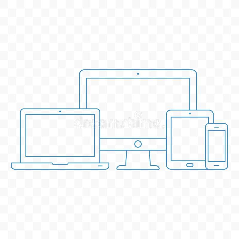 elektroniskt modernt för apparater Linje stilillustration av PC:n, bärbara datorn, minnestavlan och mobiltelefonen royaltyfri illustrationer