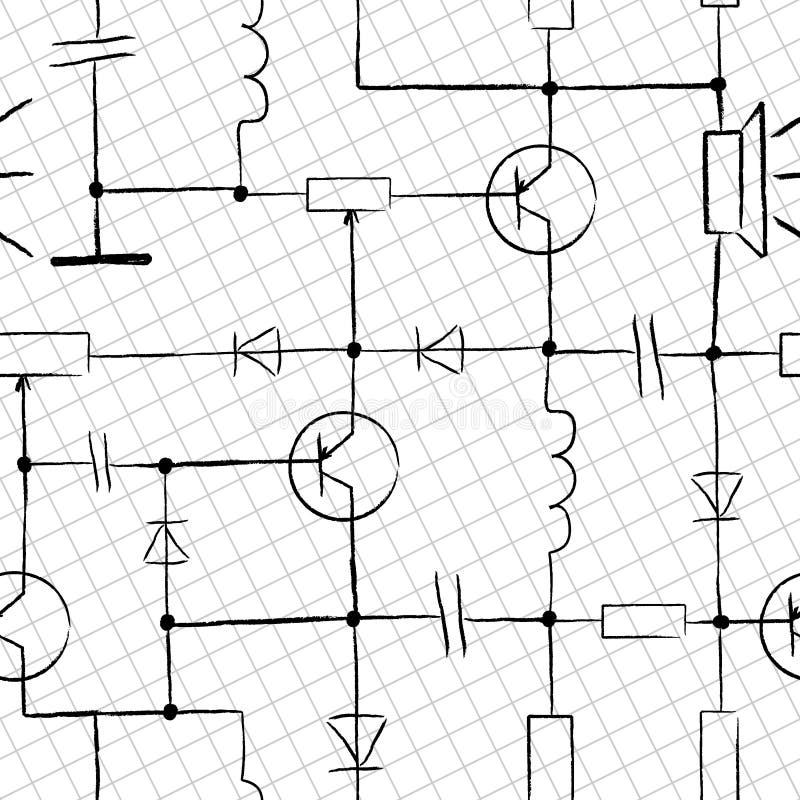 elektroniskt seamless för strömkrets royaltyfri illustrationer