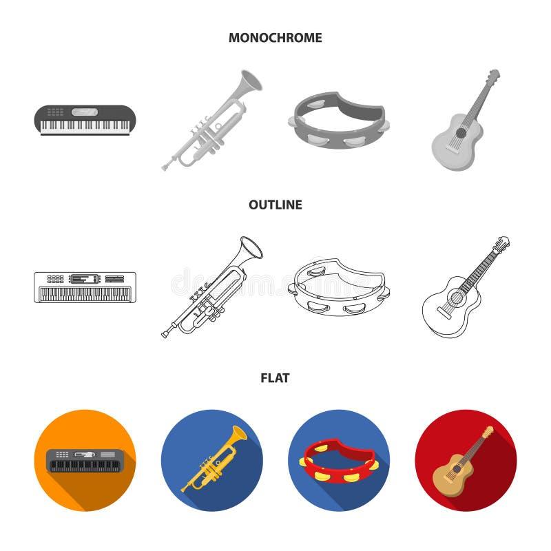 Elektroorgaan, trompet, tamboerijn, koordgitaar De muzikale instrumenten geplaatst inzamelingspictogrammen in vlakte, schetsen, z royalty-vrije illustratie