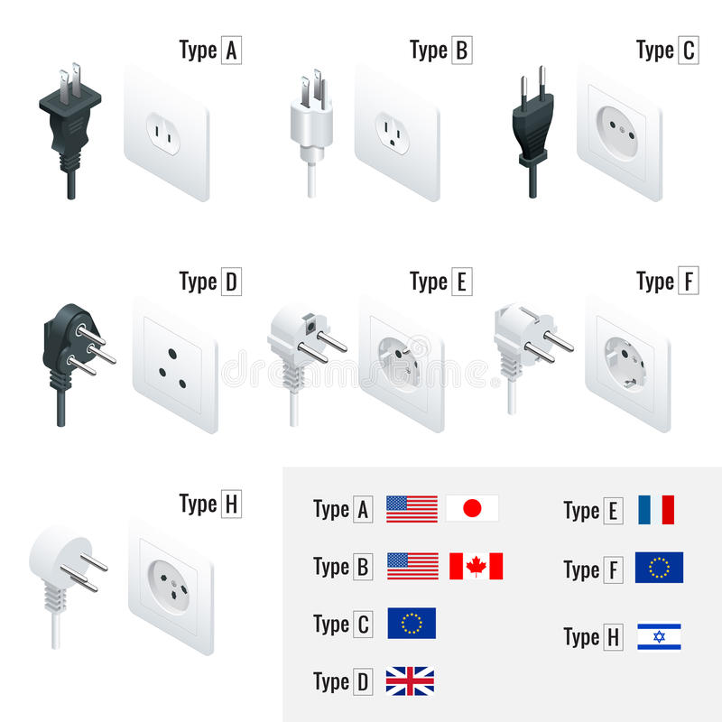 Elektrostoptypes Type A, Type B, Type C, Type D, Type E, Type F, Type H Isometrische geplaatste Schakelaars en contactdozen Ac vector illustratie