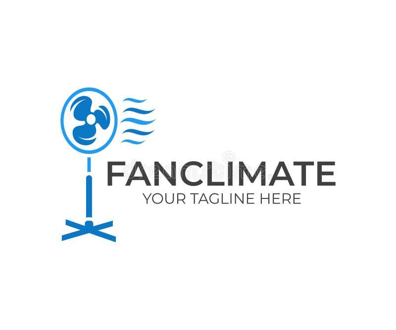 Elektroventilator, ventilator, ventilator en gietgal met golf koele wind, embleemontwerp Huishoudapparaat voor huis die tot een m vector illustratie