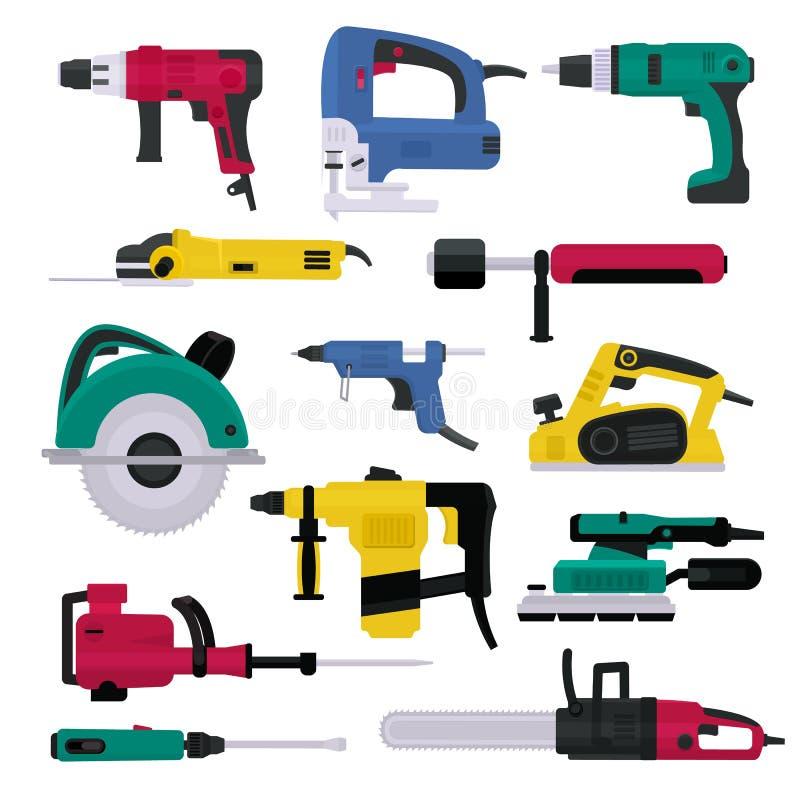 Elektrowerkzeuge vector elektrisches Bohrgerät und elektrischer Baugerätmachthobelschleifer und -säge stock abbildung