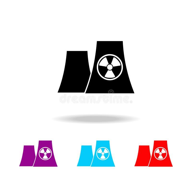 Elektrowni jądrowej sylwetki ikona Elementy elektryczność w wielo- barwionych ikonach Premii ilości graficznego projekta ikona Pr ilustracja wektor