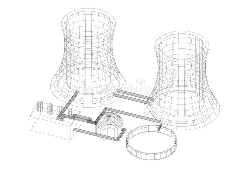 Elektrownia jądrowa architekta projekt - odosobniony ilustracja wektor