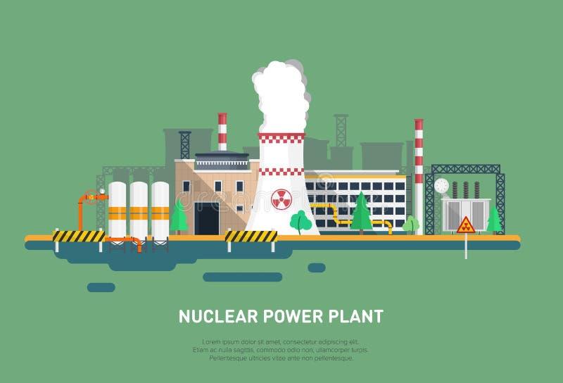 Elektrownia jądrowa w płaskim stylu Cooler, władzy jednostka, budynek biurowy i inni elementy elektrownia, royalty ilustracja