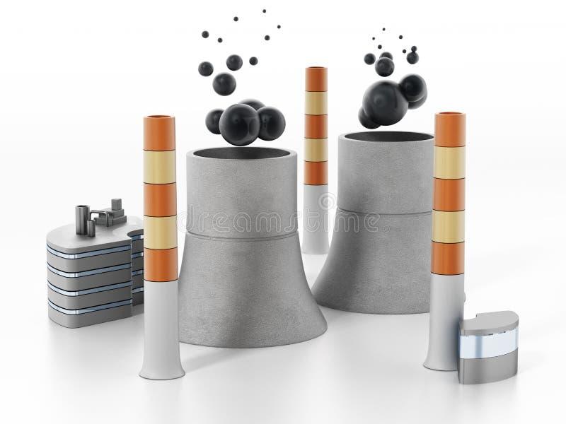 Elektrownia nuklearna odizolowywająca na białym tle ilustracja 3 d ilustracja wektor