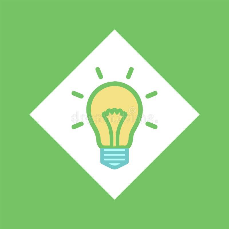 Elektryczna żarówka w kwadracie, Rozjarzony Lightbulb pomysł ilustracja wektor
