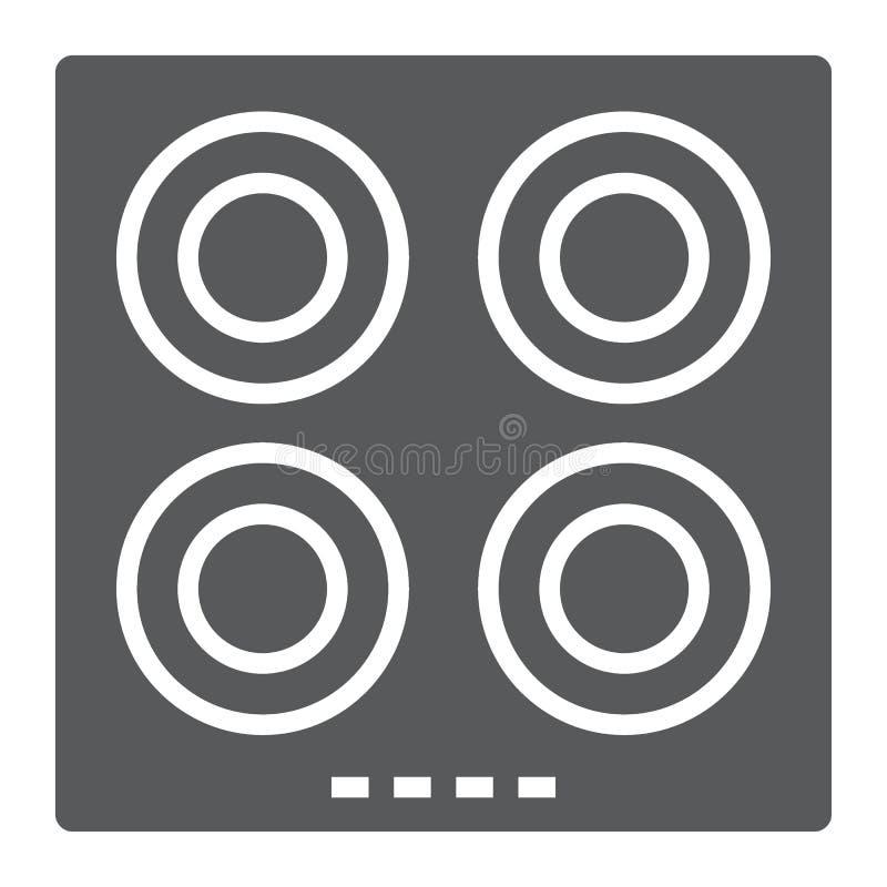 Elektryczna gorącego talerza glifu ikona, kuchnia i kucharstwo, ilustracja wektor