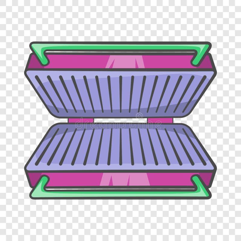 Elektryczna grill ikona, kreskówka styl ilustracji