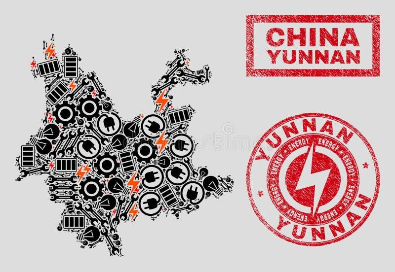 Elektryczna kolażu Yunnan prowincji mapa, płatek śniegu i Grunge foki ilustracja wektor