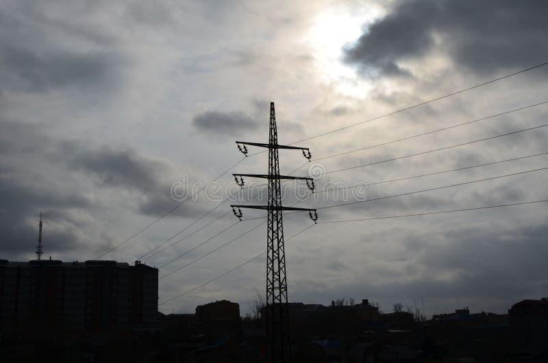 Elektryczna kolumna z słońca przelotnym spojrzeniem zdjęcia royalty free