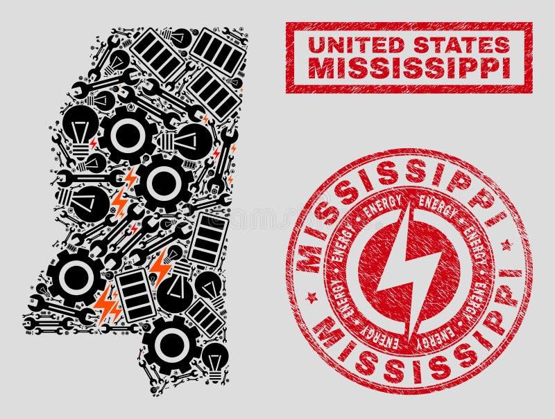 Elektryczna mozaiki Mississippi stanu mapa i Stemplowe foki Śnieżne i Porysowane ilustracja wektor