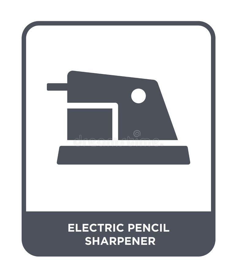 elektryczna ołówkowej ostrzarki ikona w modnym projekta stylu elektryczna ołówkowej ostrzarki ikona odizolowywająca na białym tle ilustracja wektor