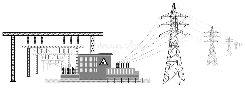 Elektryczna podstacja z wysokimi woltaż liniami Przekaz i redukcja elektryczna energia zdjęcia stock