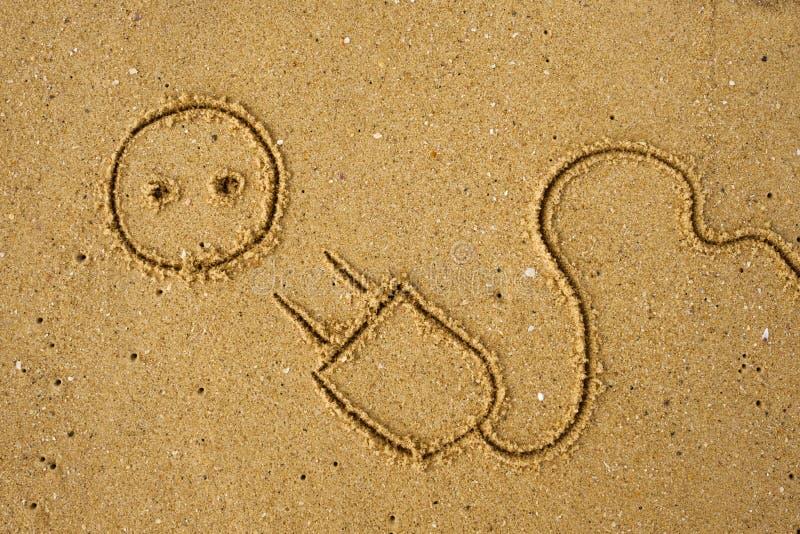 Elektryczna prymka rysująca na piasku fotografia stock