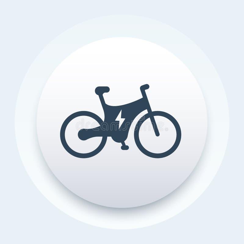 Elektryczna rower ikona, bicykl z zintegrowanym silnikiem ilustracji