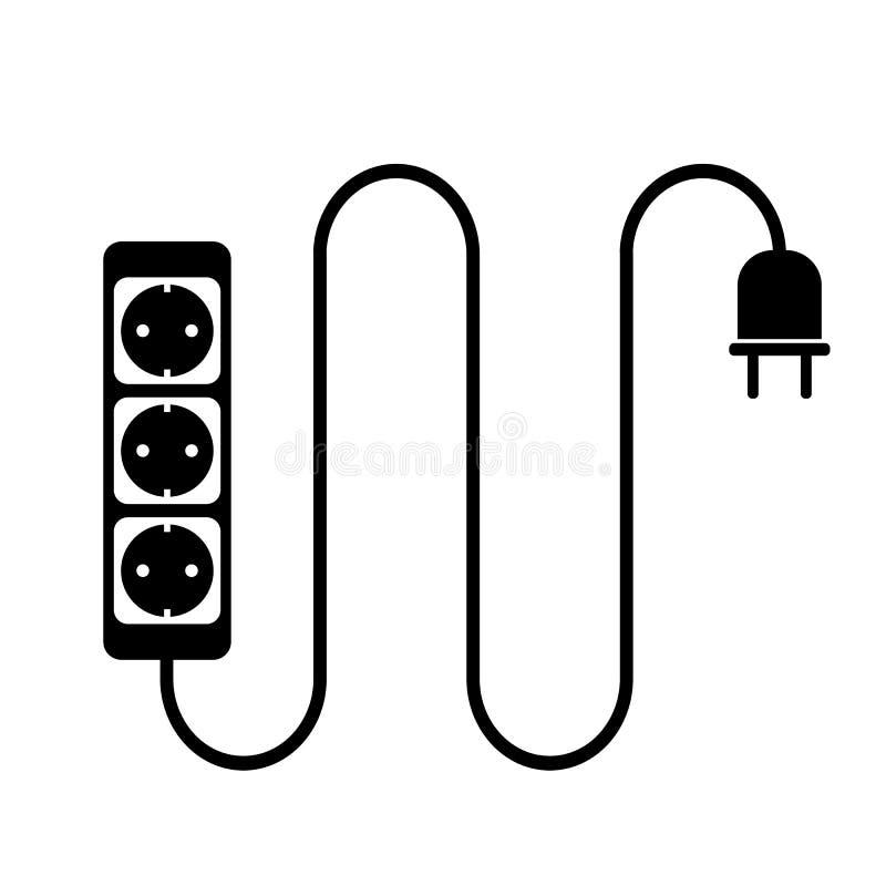 Elektryczna rozszerzenie sznura lub rozszerzenie kabla ikona z władza paskiem royalty ilustracja