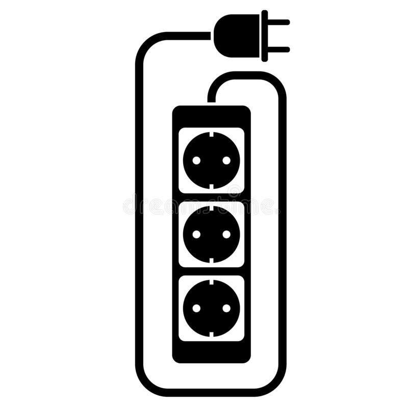 Elektryczna rozszerzenie sznura lub rozszerzenie kabla ikona z władza paskiem ilustracja wektor