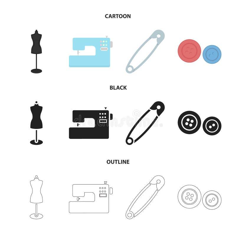 Elektryczna szwalna maszyna, atrapa na stojaku, szpilka, zapina Atelier ustalone inkasowe ikony w kreskówce, czerń, konturu styl ilustracja wektor