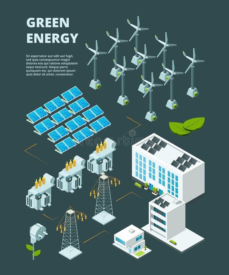 Elektryczna zielona elektrownia Elektrycznego elektrowni siatki dystrybucji energetycznego przemysłowego miasta wektoru 3d isomet ilustracja wektor
