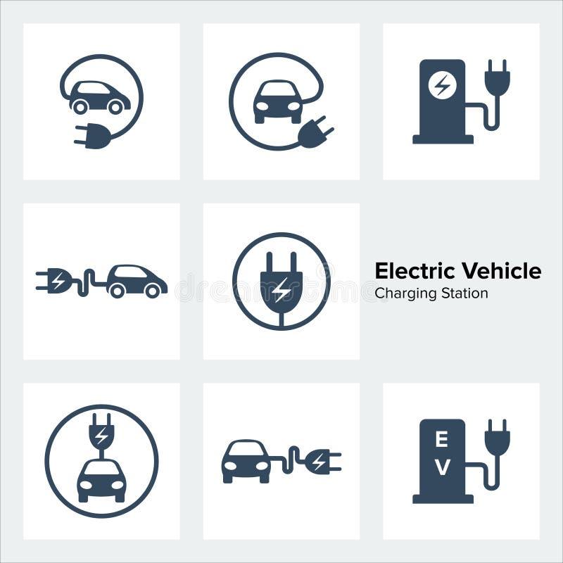 Elektryczne pojazd Ładuje staci ikony Ustawiać ilustracja wektor