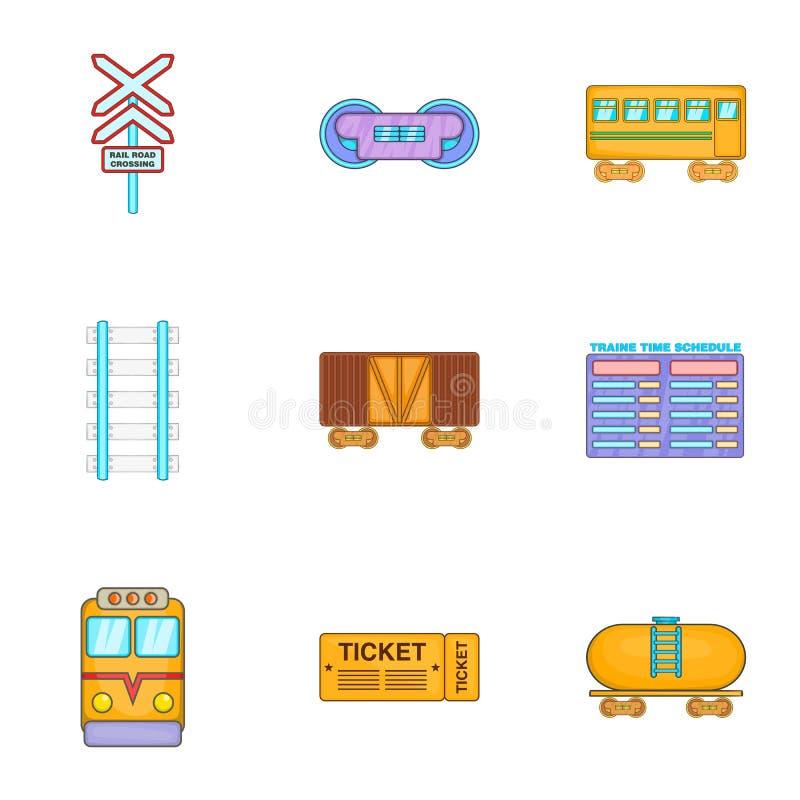 Elektryczne taborowe ikony ustawiać, kreskówka styl ilustracja wektor