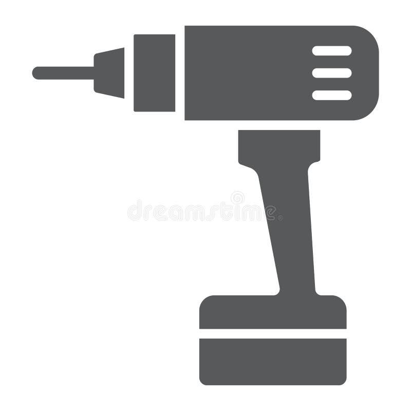 Elektrycznego świderu glifu ikona, narzędzie i naprawa, śrubokrętu znak, wektorowe grafika, bryła wzór na białym tle ilustracji