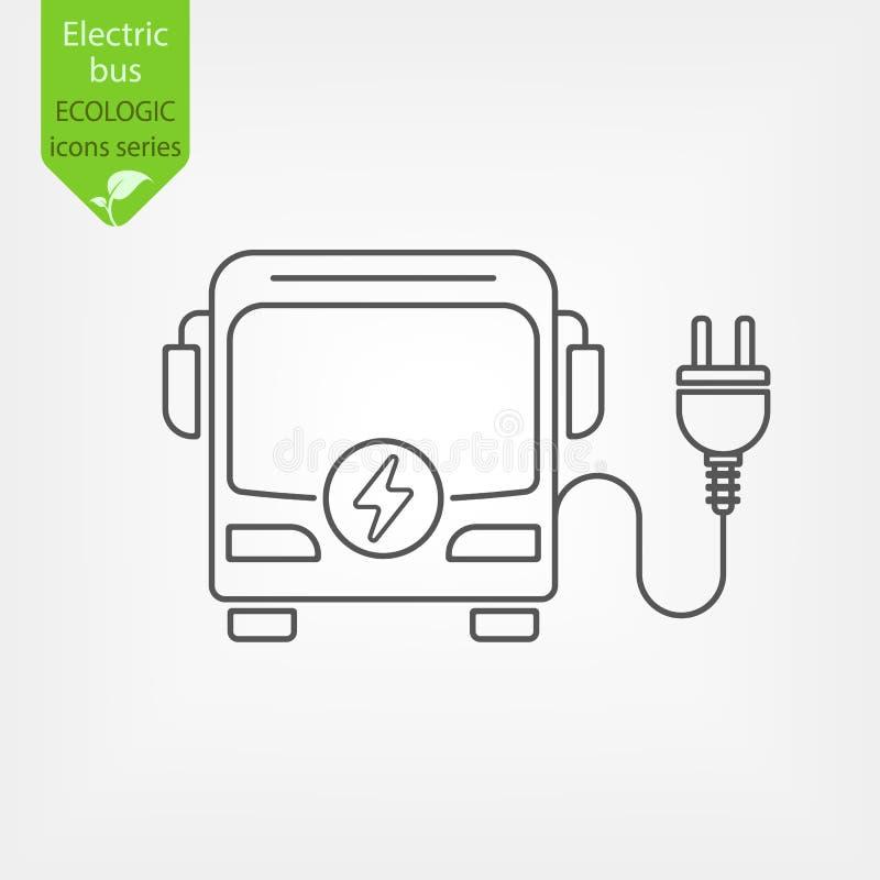 Elektrycznego autobusu cienka kreskowa ikona zdjęcia royalty free