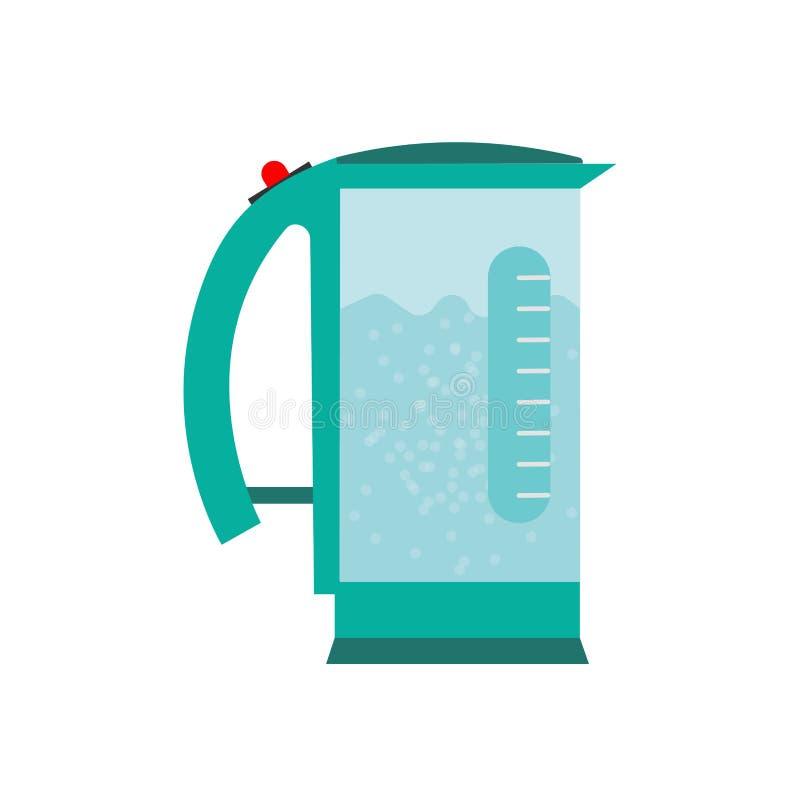 Elektrycznego czajnika przedmiota ikony symbolu wektorowy projekt Grafiki narz?dziowy gor?cy kuchenny naczynie Kresk?wki domowego royalty ilustracja