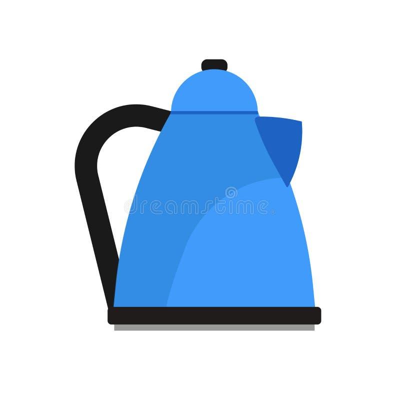 Elektrycznego czajnika urządzenia ilustracyjna domowa wektorowa ikona Kuchennej rękojeść czyraka teapot wody odosobniony biel Nac ilustracji