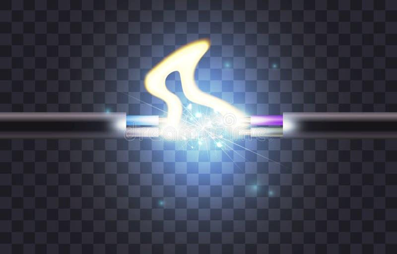 Elektrycznego kabla przerwa ilustracja wektor