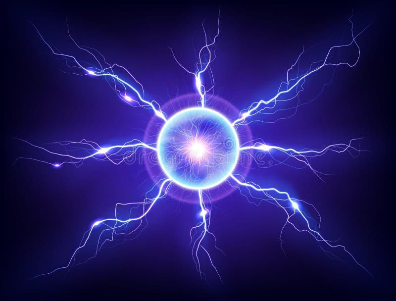 Elektrycznego osocza thunderball błyskawicowy rozładowanie na ciemnym tle obrazy royalty free