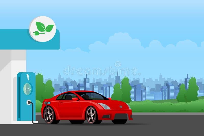 Elektrycznego samochodu ładuje bateria przy elektrycznej energii stacją na pejzażu miejskim z naturalnym pojęciem zielona środowi royalty ilustracja