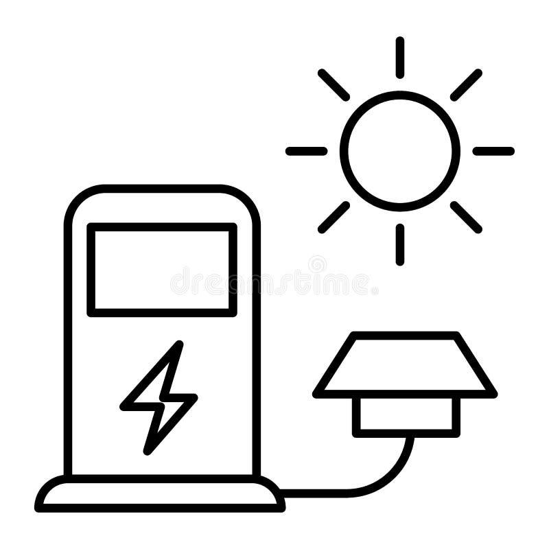 Elektrycznego samochodu ładuje stacji cienka kreskowa ikona Elektrycznego pojazdu podsadzkowa ilustracja odizolowywająca na bie royalty ilustracja