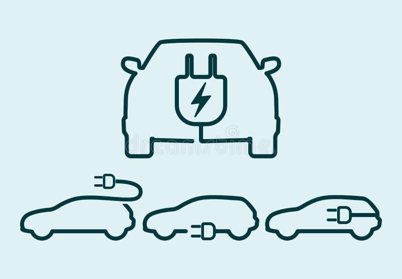 Elektrycznego samochodu ikony set ilustracji